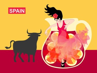 Symbols of Spain. Black bull, a jug with sangria and a girl dancing flamenco with a manton in the shape of a flying bird. Background in the color of the Spanish flag.