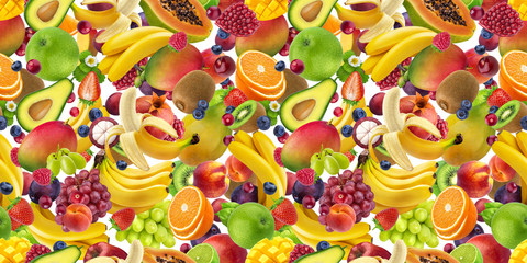 Tropical fruits seamless pattern, falling fruits isolated on white background