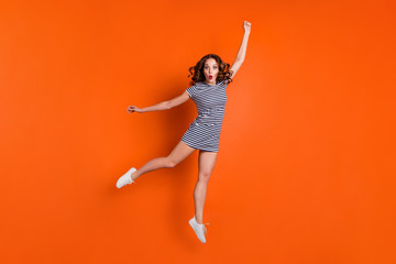 Wall Mural - Full body length size photo of joking comic charming sporty gorgeous she her lady student hipster in white footwear shoes sneakers with shocked facial expression isolated vivid background