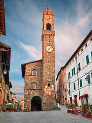Montalcino, Siena, Tuscany, Italy: the medieval Palazzo dei Priori, now city hall