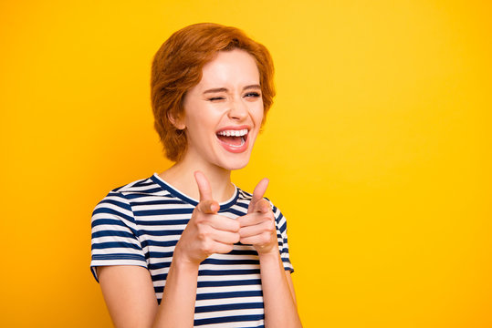 Close up photo beautiful amazing she her lady easy-going point index fingers hey you let's hang out wearing casual striped white blue t-shirt outfit clothes isolated yellow bright vibrant background