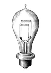 Antique engraving illustration of bulb lamp black and white clip art isolated on white background