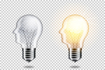 Wall Mural - Realistic transparent light bulb with head and brain for dark background, isolated.