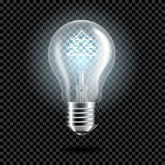 Wall Mural - Set of realistic transparent light bulb with christmas tree for dark background, isolated.
