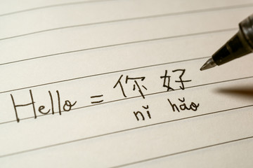 Beginner Chinese language learner writing Hello word Nihao in Chinese characters and pinyin on a...