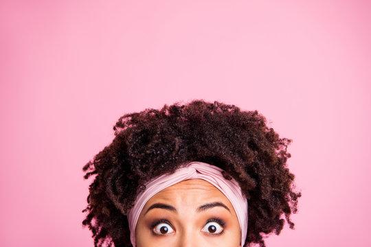 Close up photo beautiful amazing she her dark skin lady hide half facial expression big full fear eyes not talk tell speak say word wear head scarf casual white t-shirt isolated pink bright background