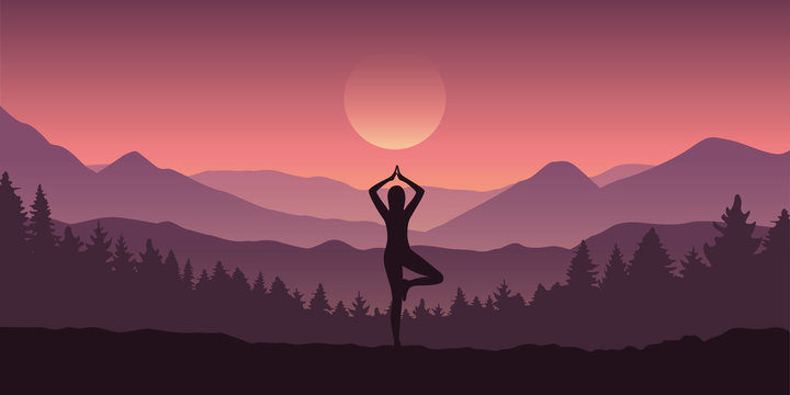 girl makes yoga tree figure in the mountain landscape view vector illustration EPS10