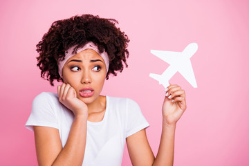 Fototapete - Close-up portrait of her she nice-looking shine charming cute attractive lovely afraid wavy-haired girl  plane phobia panic attack isolated over pink pastel background