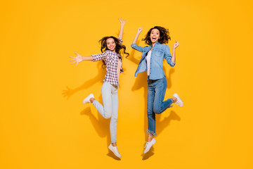 Wall Mural - Full length body size view photo cute funny funky person beautiful free time weekends holidays travel spring summer raise hands arms fists long hair fool plaid modern outfit isolated yellow background