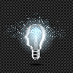 Wall Mural - Realistic transparent light bulb with head and word idea, for dark background, isolated.