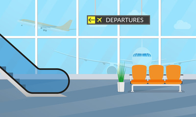 Airport terminal background. Waiting hall interior with the airplanes outside the window. Departure lounge with chairs and escalator. Vector illustration.