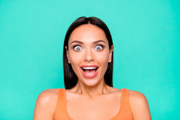Close up photo portrait of joking laughing with strange funky facial expression she her lady people person holding open mouth isolated pastel background