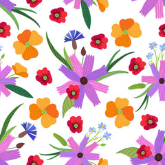 vector floral seamless pattern in flat style. Ideal for packaging paper, fabric, postcards, decor and design.