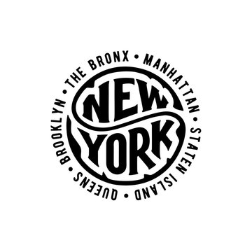 New York circle lettering with district Vector illustration