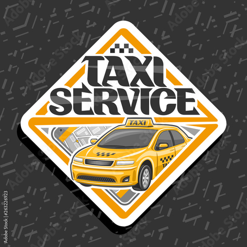 Vector logo for Taxi Service, white decorative badge with