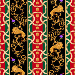 73c543681 Striped baroque seamless pattern with lions and chains. Vector patch for  print