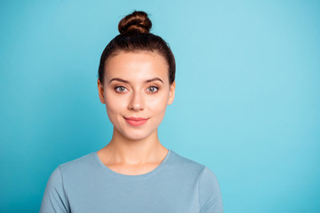 Close up photo beautiful amazing wonderful she her lady nice-looking kindhearted calm kind sincere attractive pretty candid eyes wear casual sweater pullover isolated blue bright background Wall mural
