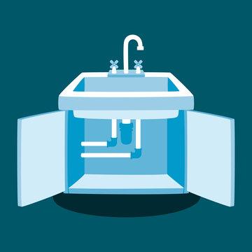 Kitchen Faucet Repair Vector Illustration