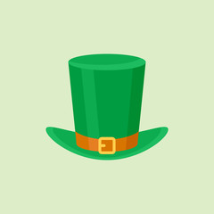 Leprechaun hat isolated on green background. Flat style icon. Vector illustration.