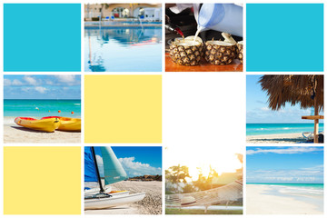 Photo collage of tropical island. Travel concept. Cuba, Varadero. Free place for text