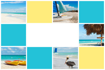 Photo collage of tropical island. Travel concept. Cuba, Varadero. Free space for text