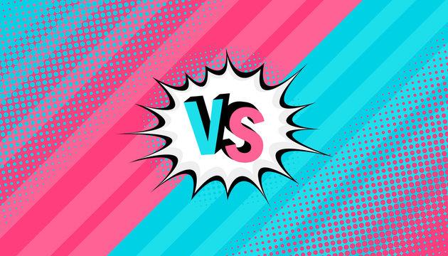 Concept VS. Versus. Men vs women. Retro background comics style design with halftone. Modern flat style vector illustration