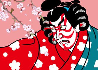 歌舞伎・桜背景