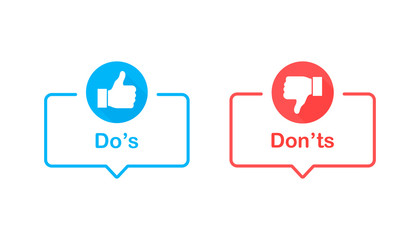 Dos and donts like thumbs up or down. Like or dislike. Vector illustration line icon