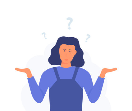 A woman is shrugging with a curious expression. Search solution. Modern hand drawn cartoon vector illustrations