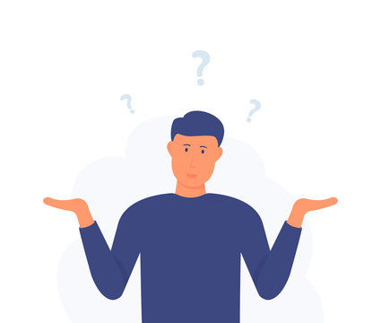 A man is shrugging with a curious expression. Search solution. Modern hand drawn cartoon vector illustrations