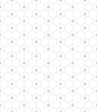 Seamless pattern vector. Gray hexagon line and lock symbol on white background pattern, security concept, minimalist style, simple design.