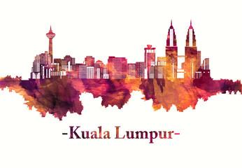 Wall Mural - Kuala Lumpur Malaysia skyline in red