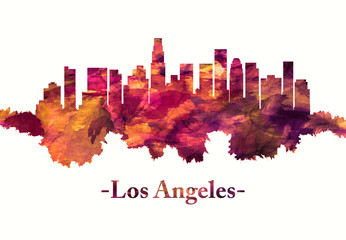 Los Angeles California skyline in red Wall mural
