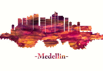 Fototapete - Medellin Colombia skyline in red