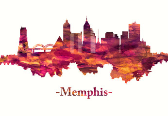 Fototapete - Memphis Tennessee skyline in red