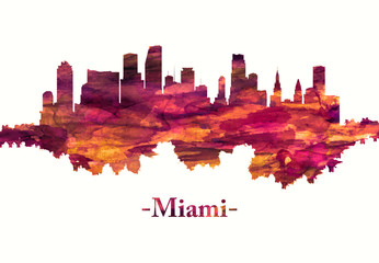 Wall Mural - Miami Florida skyline in red