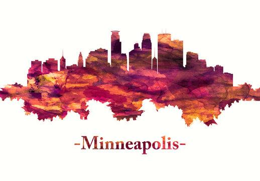 Minneapolis Minnesota skyline in red