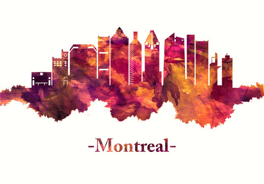 Montreal Canada skyline in red