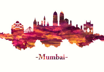 Fototapete - Mumbai India skyline in red