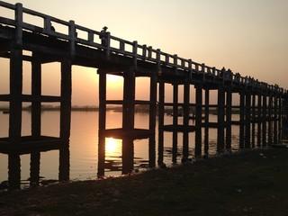 U Bein Bridge near Amarapura, Myanmar at Sunset