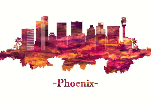 Phoenix Arizona skyline in red