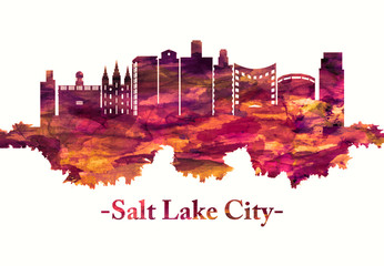 Fototapete - Salt Lake City Utah skyline in red