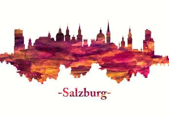 Fototapete - Salzburg Austria skyline in red