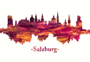 Wall Mural - Salzburg Austria skyline in red