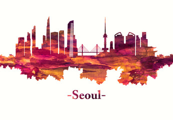Fototapete - Seoul South Korea skyline in red