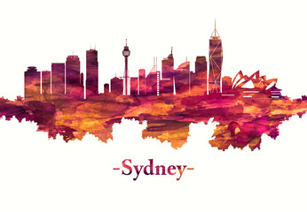 Fototapete - Sydney Australia skyline in red