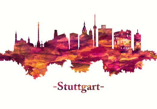 Stuttgart Germany skyline in red