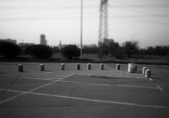 Black and white empty car parking background hd