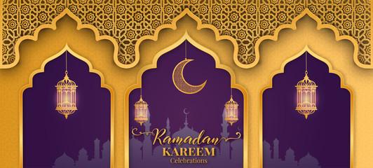 Ramadan Kareem or Eid mubarak greeting card islamic vector design