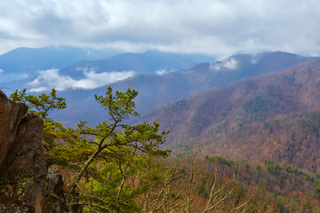 Low clouds hang over the Blue Ridge mountains in Nelson county, Virginia.  Photographed along the Blue Ridge Parkway.